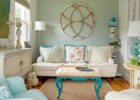 White and Turquoise Shabby Chic Living Room with Wooden Coffee Table on How to Decorate a Living Room