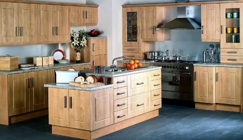 maple-wood-Cheap-Kitchen-Cabinets-Refacing-Ideas-with-island-designs