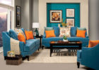 affordable blue living room furniture sets with orange cushions decor