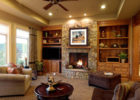 best cottage style living rooms with natural stone fireplace design ideas