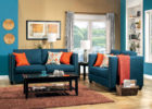 blue living room furniture sets color schemes with orange chusions ideas