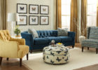 blue living room sofa  furniture sets with brown wing back chairs