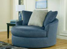 blue round leather swivel chairs living room sitting area ideas