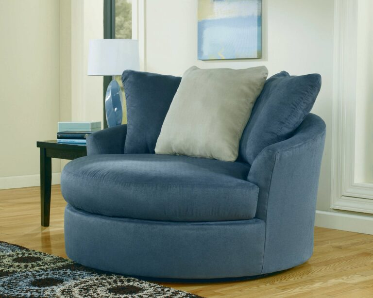 Blue Round Leather Swivel Chairs Living Room Sitting Area