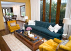 blue sofa tufted living room furniture sets with yellow armchair sofa ideas