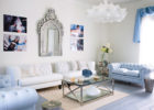 contemporary blue white living room furniture sets with glass pendant lights