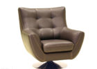 dark brown leather tufted swivel chairs living room