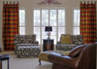 french living room with custom window treatments sliding glass doors