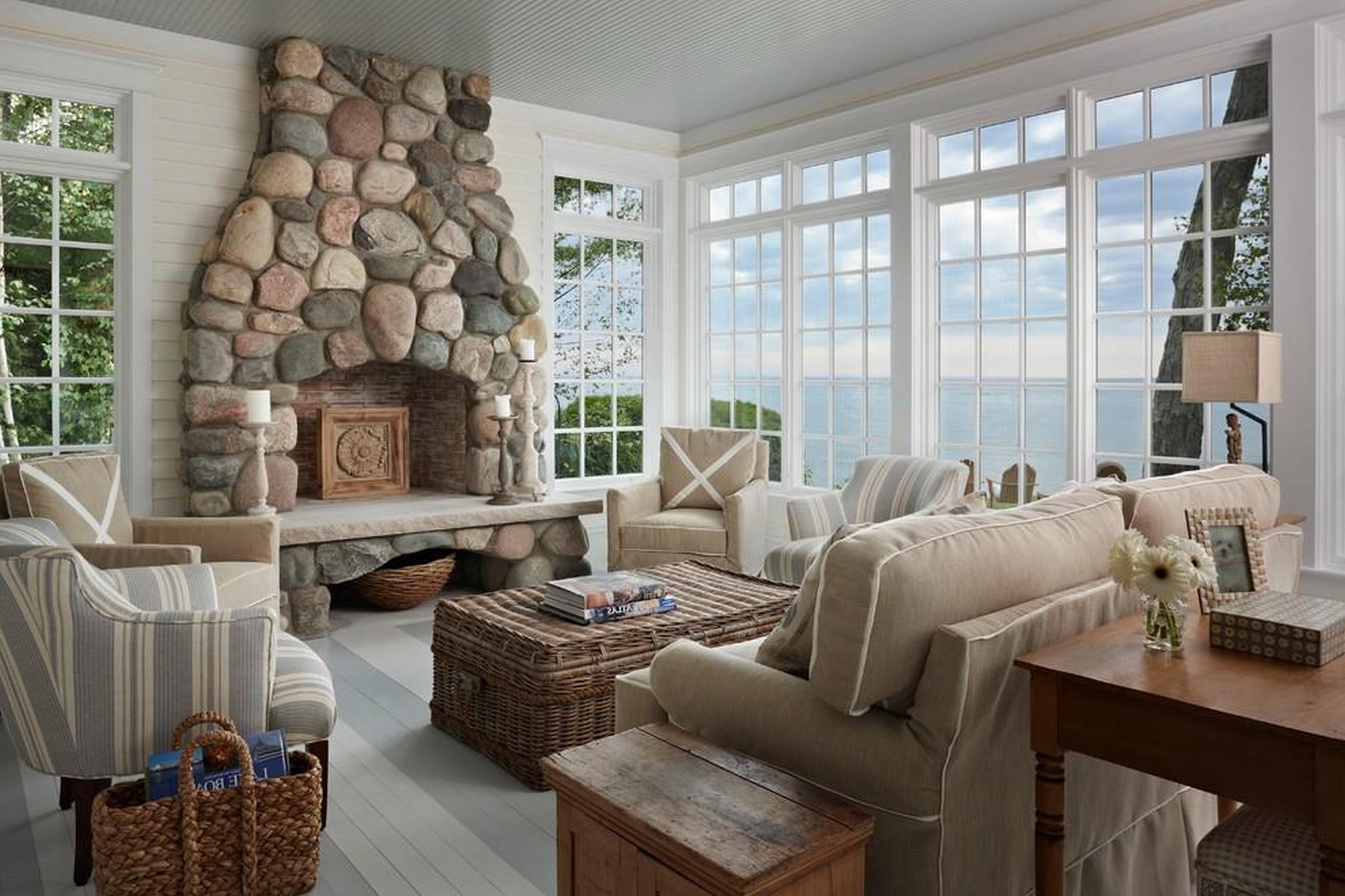 luxury cottage style living room furniture sets with natural stone fireplace design