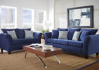 modern blue living room furniture with oak wood coffee tables