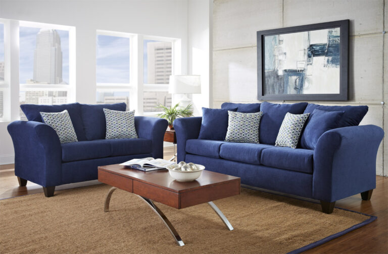 Blue Living Room Chair : Modern Blue Living Room Furniture With Oak Wood Coffee ...