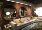 modern large beveled round walls mirrors for decorative living room walls