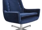 modern navy blue fabric tufted swivel accent chairs living room furniture ideas