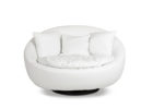 modern round white swivel chairs living room with cushions