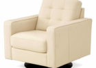 modern white leather tutfted swivel chairs living room