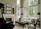 modern white living room with sheer window treatments ideas