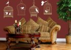 removeable white cage birds living room decorative wall decals