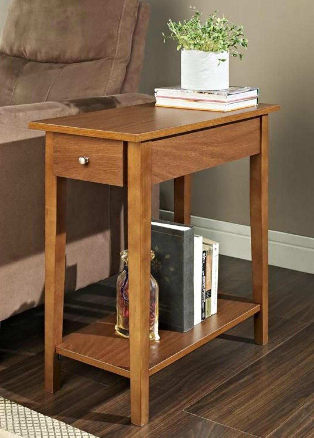 small wood cherry end tables with storage for living room side tables