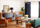 traditional blue living room furniture sets with wooden coffee tables