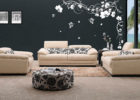 white removeable flower living room decorative wall decals