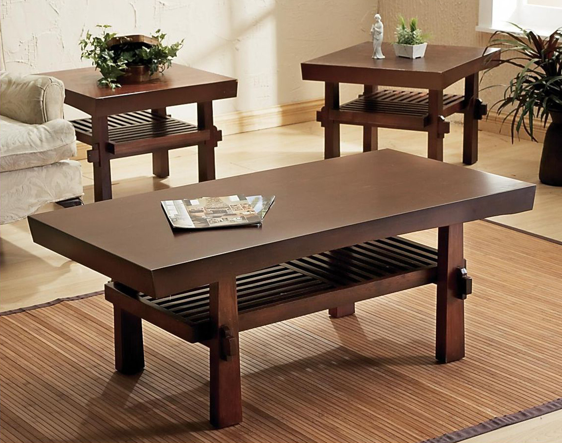 Wooden side tables for square coffee table living room raysa house for Pictures of living rooms without coffee tables