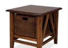 wooden side tables with wicker rack for traditional living room end table