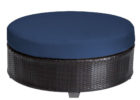Tk Maxx coffee table with round blue fabric cushions