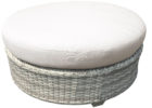 Tk Maxx coffee table with white round fabric cushions and wicker base