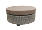 Tk Maxx coffee table with wicker base and brown leather cushions