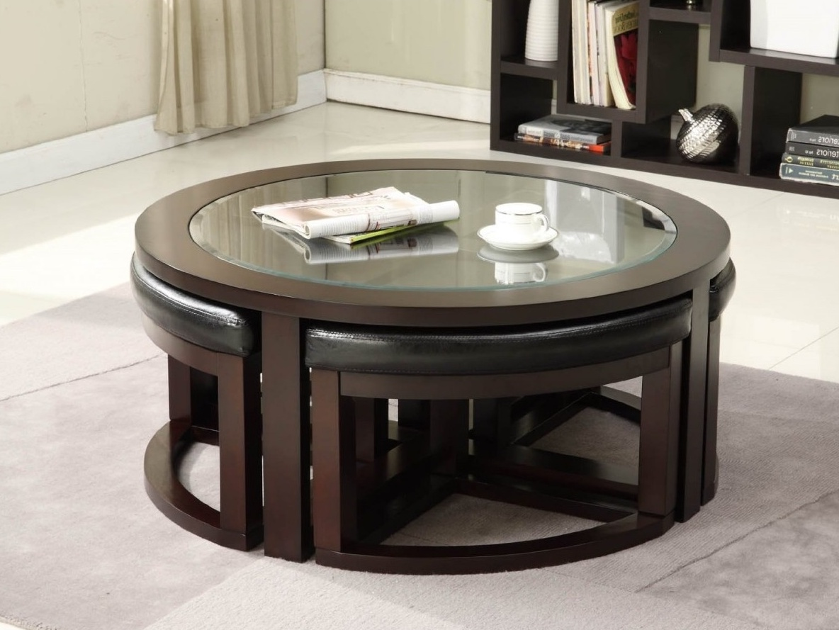 Ashley Round Glass Coffee Table With 4 Stools
