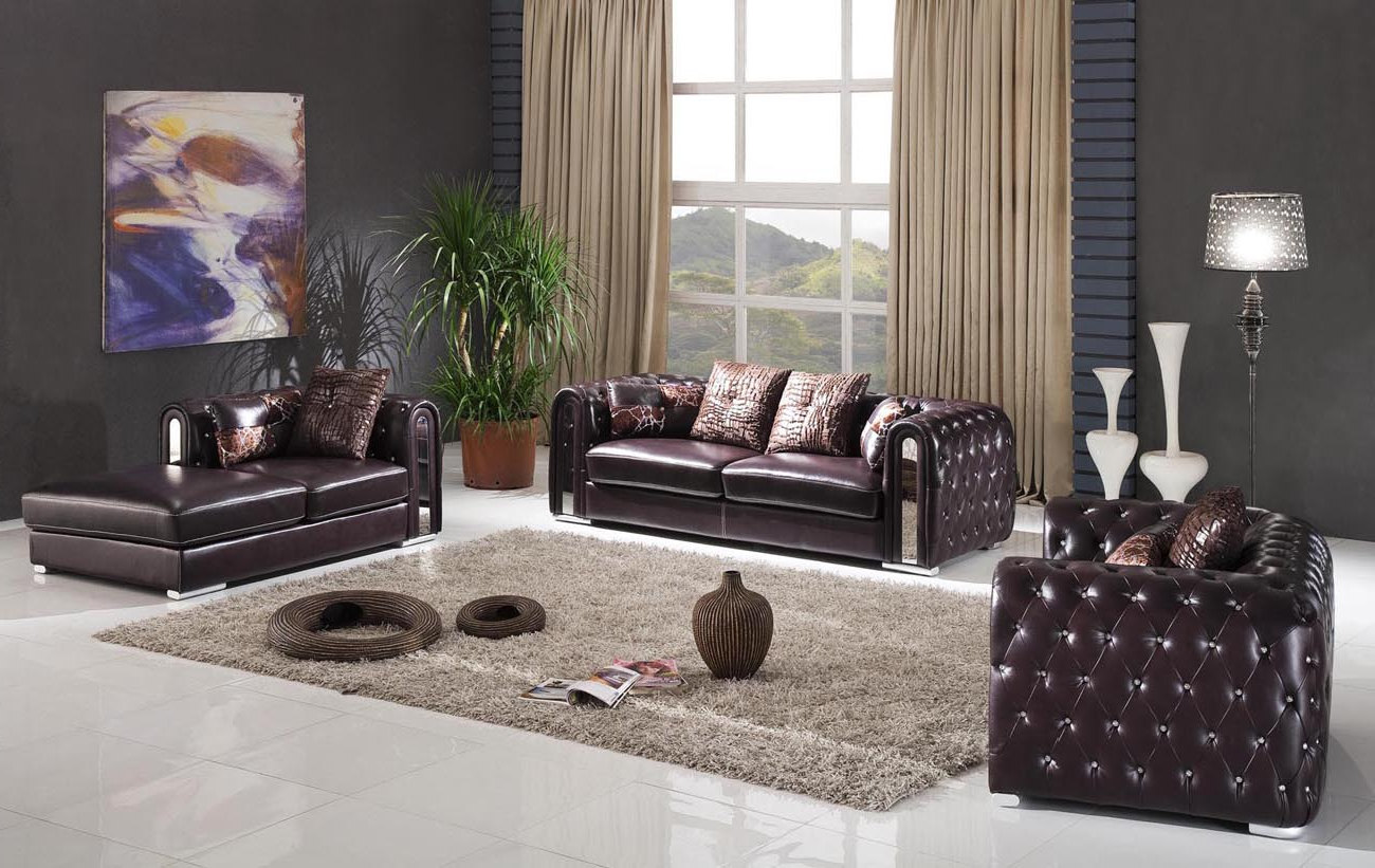 awesome black tufted leather living room sets