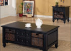 awesome black wooden Ikea coffee table Uk with storage and wicker drawers