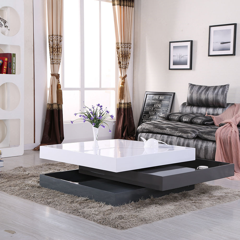 White gloss coffee table with storage for living room awesome modern black white gloss coffee table with storage geotapseo Gallery