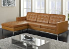 awesome modern grey gloss coffee table with leather brown tufted couch