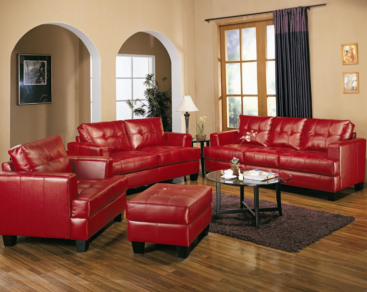 awesome red tufted leather living room sets