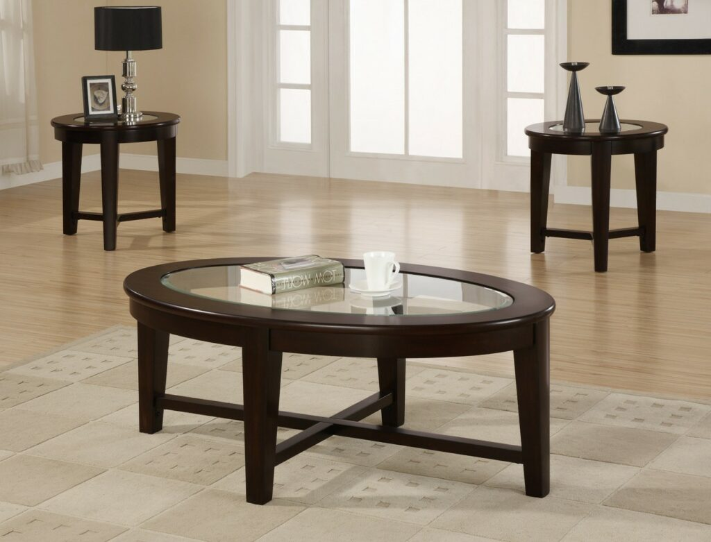 Cheap end tables and coffee table sets furniture Glass top coffee table set