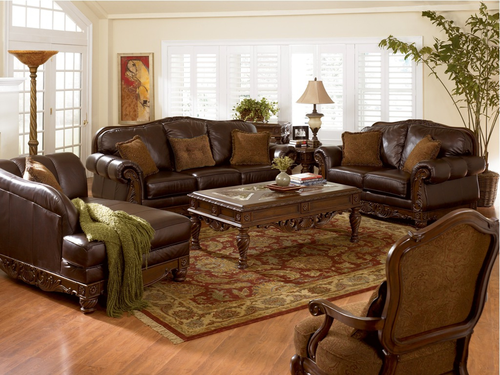 Best luxury brown leather living room sets raysa house for Family room furniture