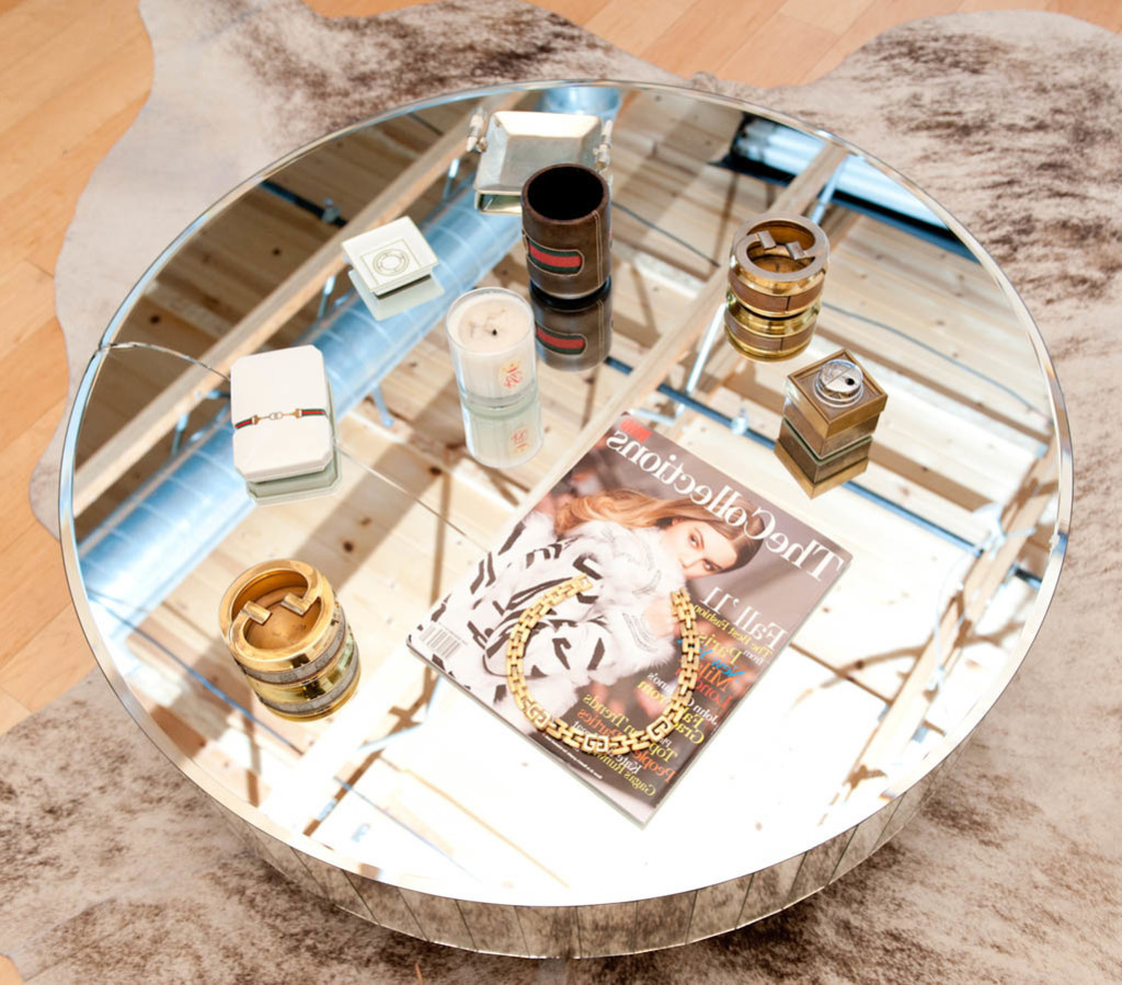best round mirrored coffee table tray