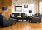 black formal leather living room sets