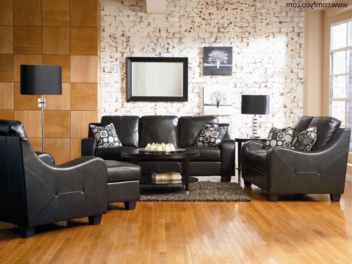 black formal leather living room sets