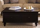 black solid wood narrow coffee table with storage