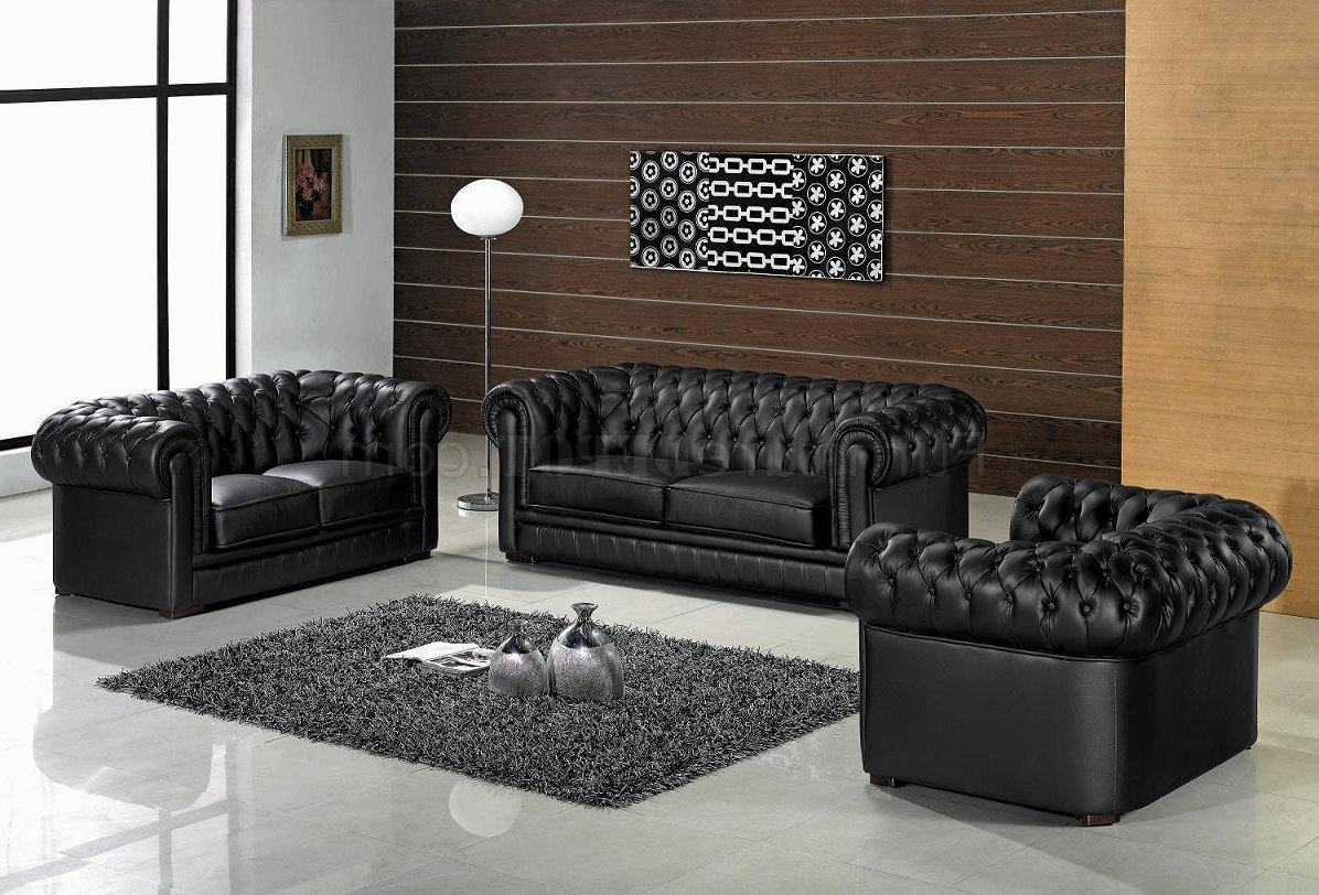 black tufted leather living room sets