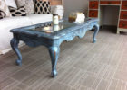 black wooden shabby chic coffee table