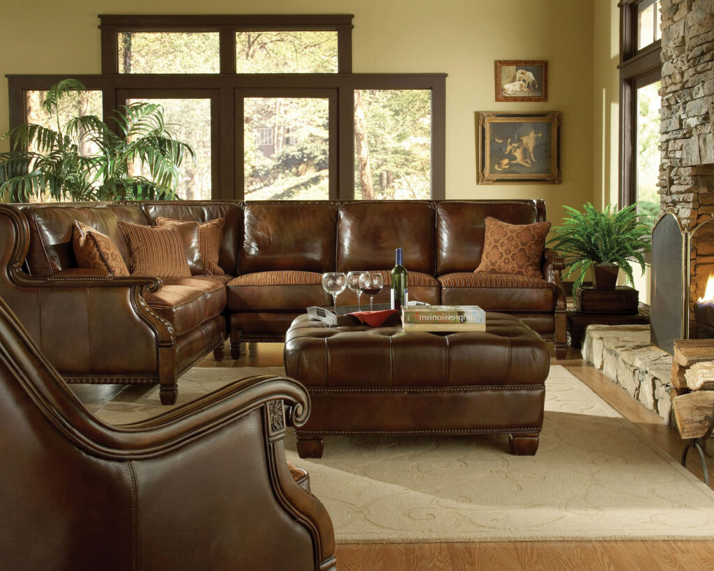 Brown Formal Leather Living Room Sets Raysa House