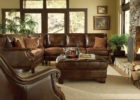 brown formal leather living room sets