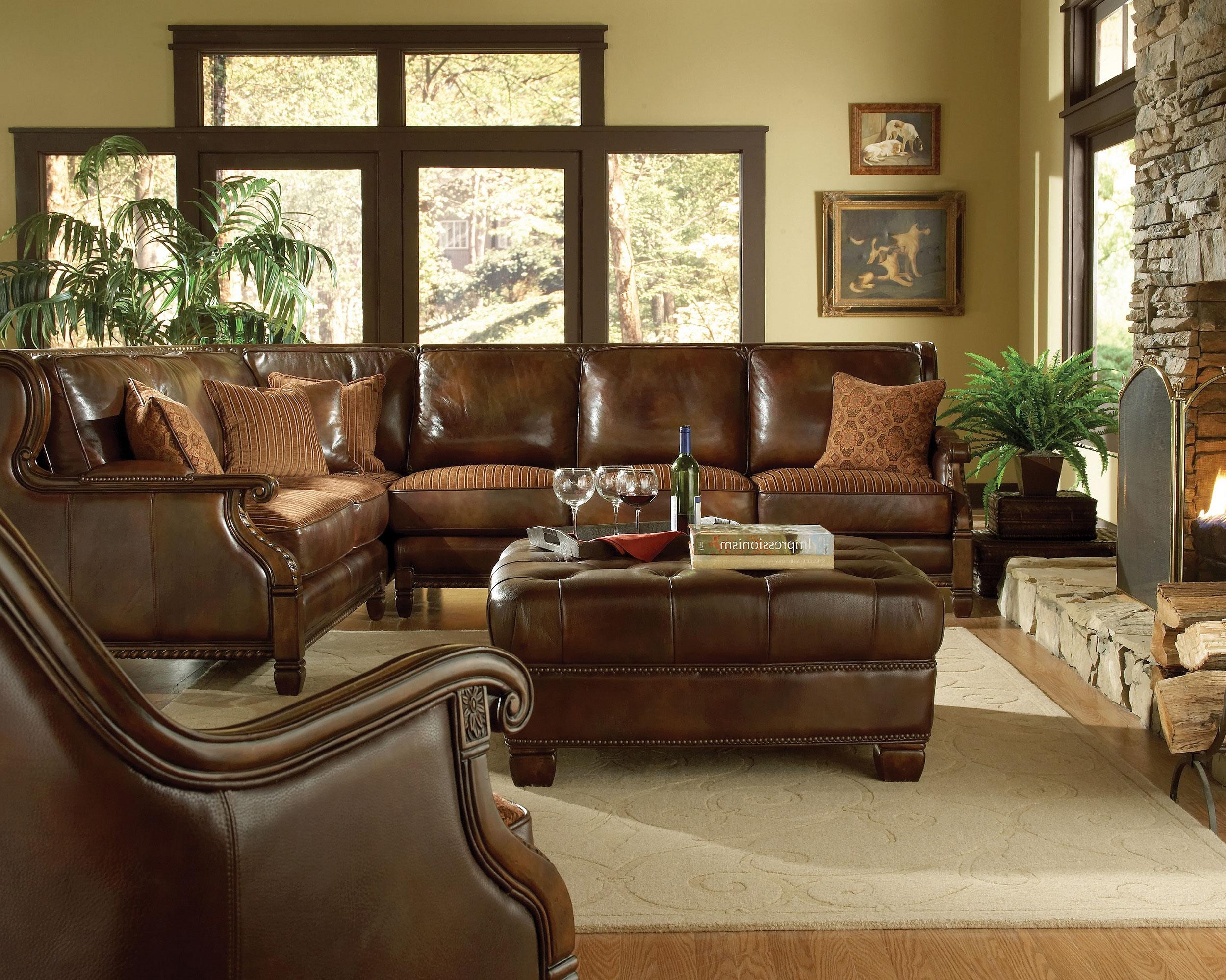 brown formal leather living room sets