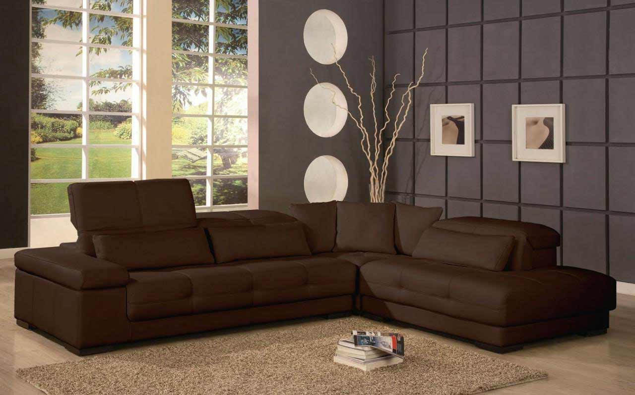 cheap modern furniture with brown leather sectional sofas