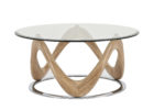 contemporary round furniture village glass coffee table wth wood legs