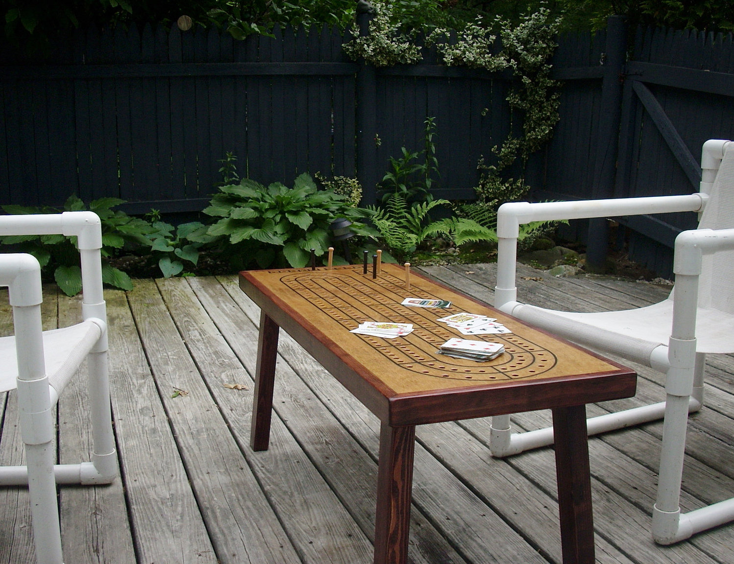 cribbage board coffee table for outdoor area