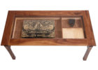 dfs glass coffee table with oak wooden bevel design